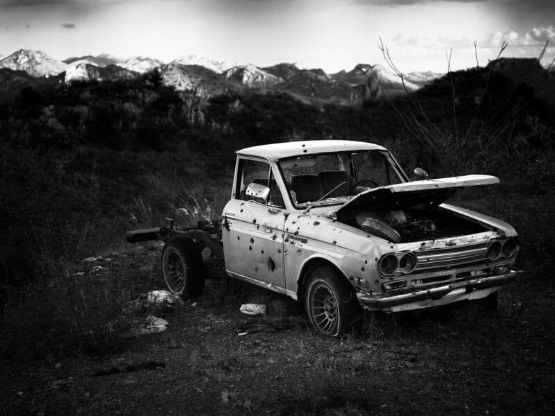 Auto mit Einschusslöchern an der Grenze zu Mexiko, Arizona 2017